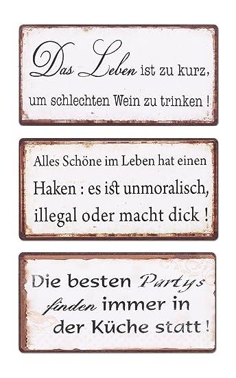 levandeo 3er Set Schilder Magnet B x H: 10x5cm Shabby Chic Vintage Küche  Bild Sprüche Wandbild