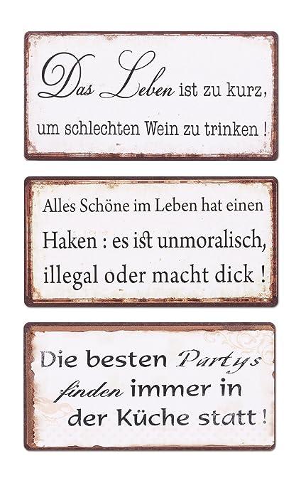 Levandeo 3er Set Schilder Magnet B X H 10x5cm Shabby Chic Vintage Küche Bild Sprüche Wandbild