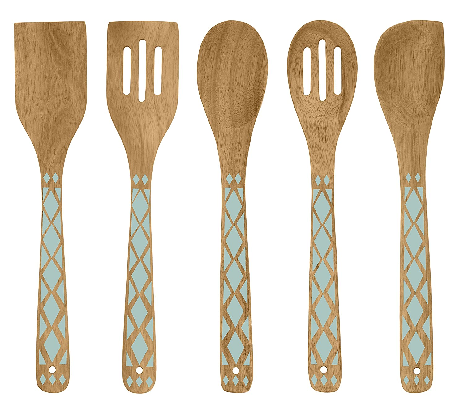 Country Kitchen 5 Piece Nonstick Utensil Set Acacia Wooden Kitchen Tools for Serving and Healthy Cooking with Mint Green Inlay Design