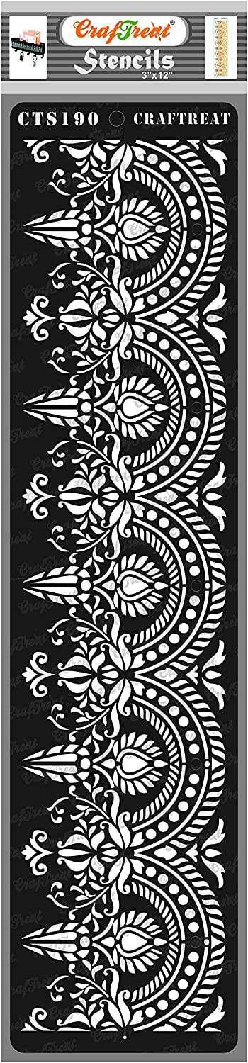 CrafTreat Damask Border Stencils for Painting on Wood, Canvas, Paper, Fabric, Floor, Wall and Tile - Border 4-3x12 Inches - Reusable DIY Art and Craft Stencils - Lace Border Stencil