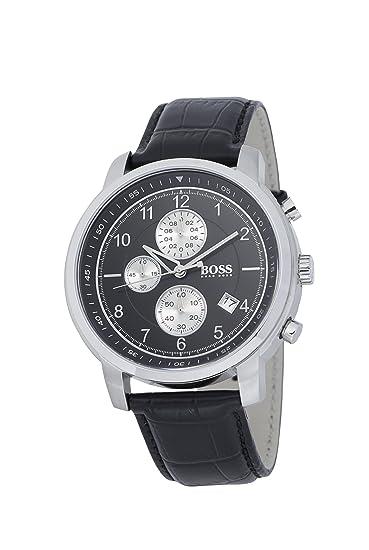 Hugo Boss 1512646 - Reloj analógico de cuarzo para hombre con correa de piel, color negro: Amazon.es: Relojes