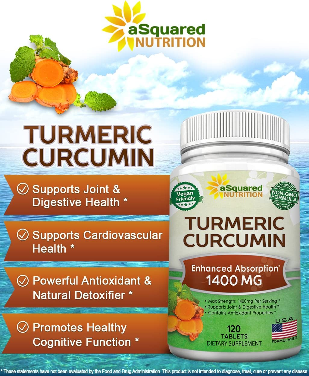 Pure Turmeric Curcumin 1400mg Supplement – 120 Tablets – 100 Natural Tumeric Root Powder Black Pepper Extract Formula, Joint Pain Support Veggie Pills, Anti-Inflammatory Antioxidant