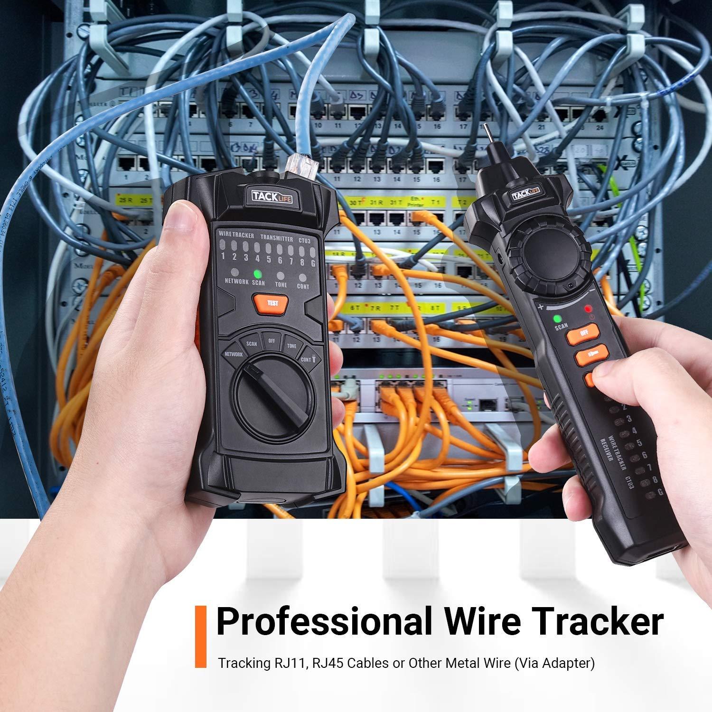 Tacklife CT03 Rilevatore di Cavi Elettrici Tester di Rete e Cavi Telefonici RJ45//RJ11 Verifica del cablaggio con Cuffie e Lavviso con Recettore e Trasmettitore