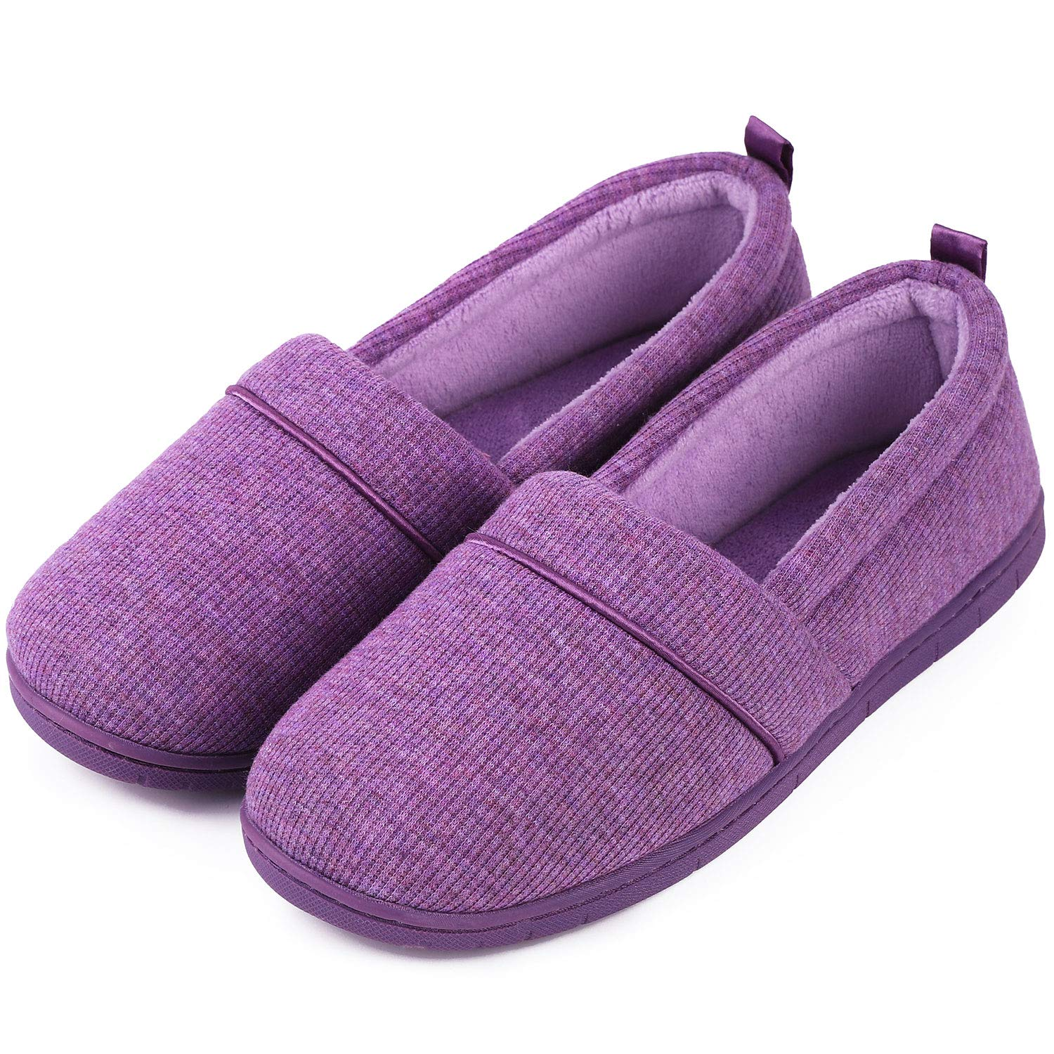 Women's Comfort Cotton Knit Memory Foam House Shoes Light Weight Terry Cloth Loafer Slippers w Anti Skid Rubber Sole