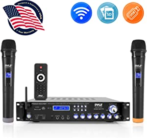 Bluetooth Multi-Channel Hybrid Pre-Amplifier System - 3000W Home Audio Rack Mount Stereo Power Amplifier Receiver w/ Radio, USB, UHF, Dual Wireless Karaoke mic, Speaker Sound System - Pyle PWMA4004BT