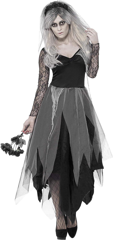Smiffy'S 43729S Disfraz De Novia De Cementerio Con Vestido Y Velo Con Rosas, Negro, S - Eu Tamaño 36-38