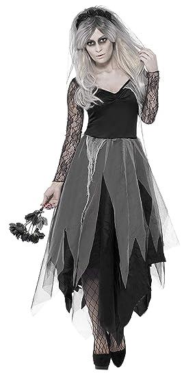 SmiffyS 43729S Disfraz De Novia De Cementerio Con Vestido Y Velo Con Rosas, Negro,