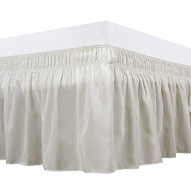 Biscaynebay Wrap Around Bed Skirts Elastic Dust Ruffles, Easy Fit Wrinkle and Fade Resistant Solid Color Silky Luxurious Textured Fabric, Ivory Queen 15 Inches Drop
