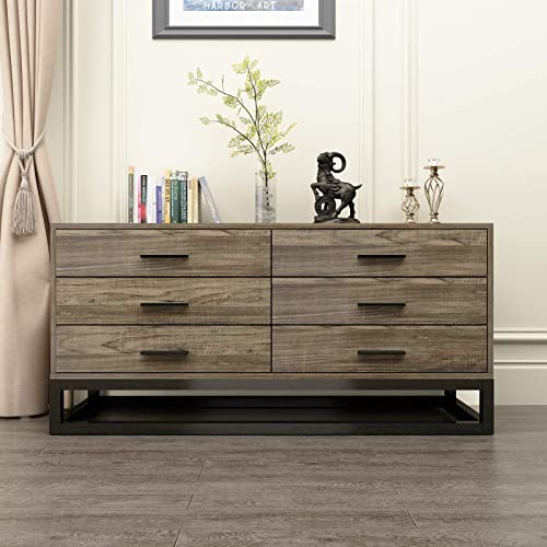 DlandHome Wood Dressers 47.2 inches Storage Cabinet with Drawers Console Table Entry Hall Table for Living Room and Entryway, DX-548BW, 1 Pack