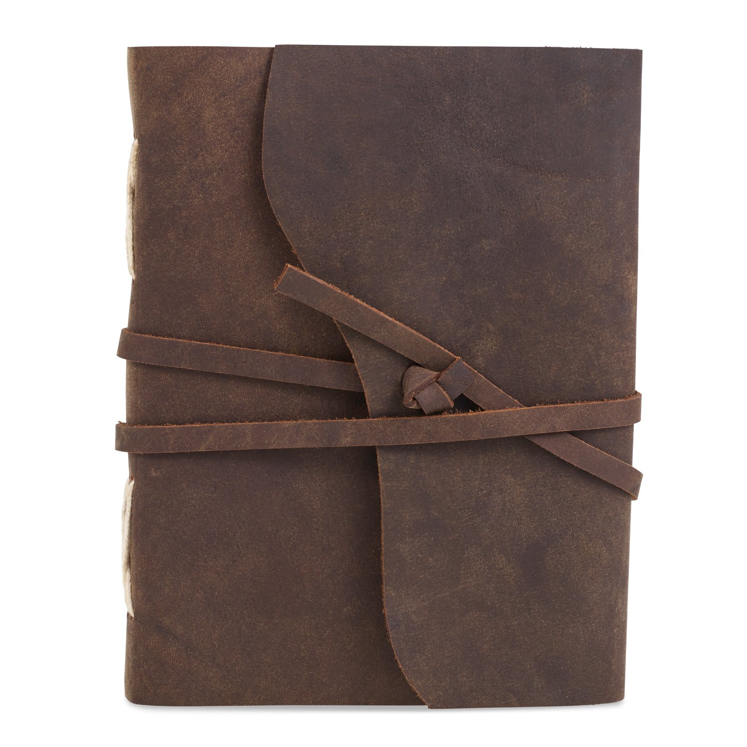 Leather Bound Writing Journal with Handmade Paper (6 x 8, DARK BROWN)