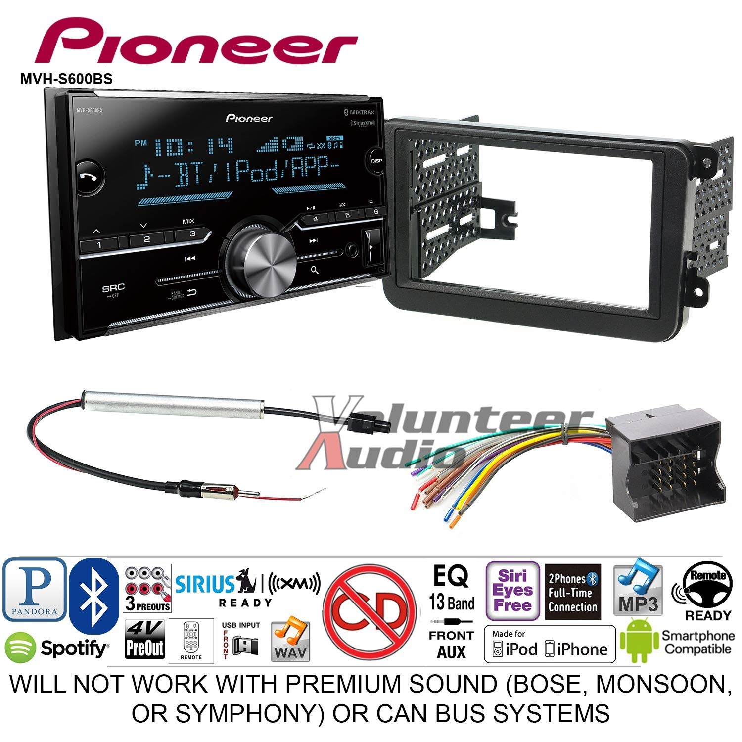 Pioneer MVH-S600BS Double Din Radio Install Kit with Bluetooth USB/AUX Fits 2012-2013 Volkswagen Beetle, 2010-2013 Golf, 2006-2013 Jetta