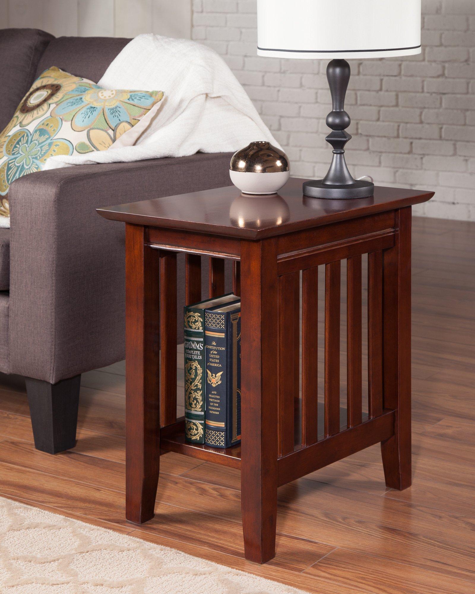 Atlantic Furniture AH13204 Mission Side Table Rubber Wood, Walnut
