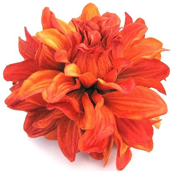 Amazon 45 Rust Orange Dahlia Silk Flower Hair Clip Clothing