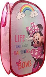 "Jay Franco Disney Minnie Mouse Rainbow Bows Pop Up Hamper - Mesh Laundry Basket/Bag with Durable Handles, 22"" x 14"" (Official Disney Product)"