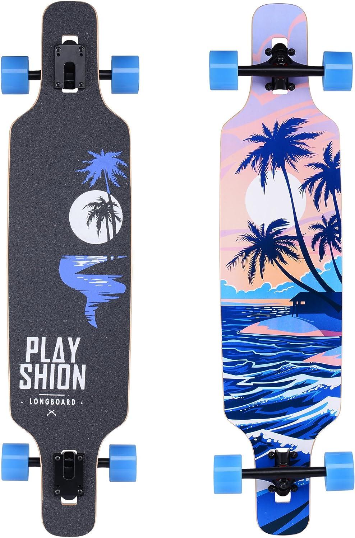 Playshion Drop Through Freestyle Longboard Skateboard Cruiser / US