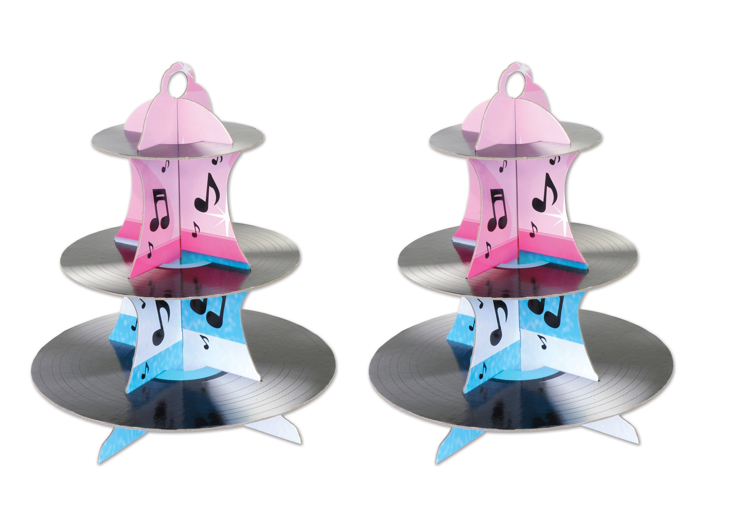 Beistle 54945 2 Piece Rock and Roll Record Cupcake Stand, 13.5'', Multicolor