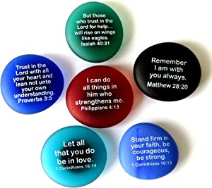 Lifeforce Glass Scripture Magnets, Your Favorite Inspirational Bible Verses Printed On Frosted Sea Glass Stones, Attached to Super-Strong Magnets