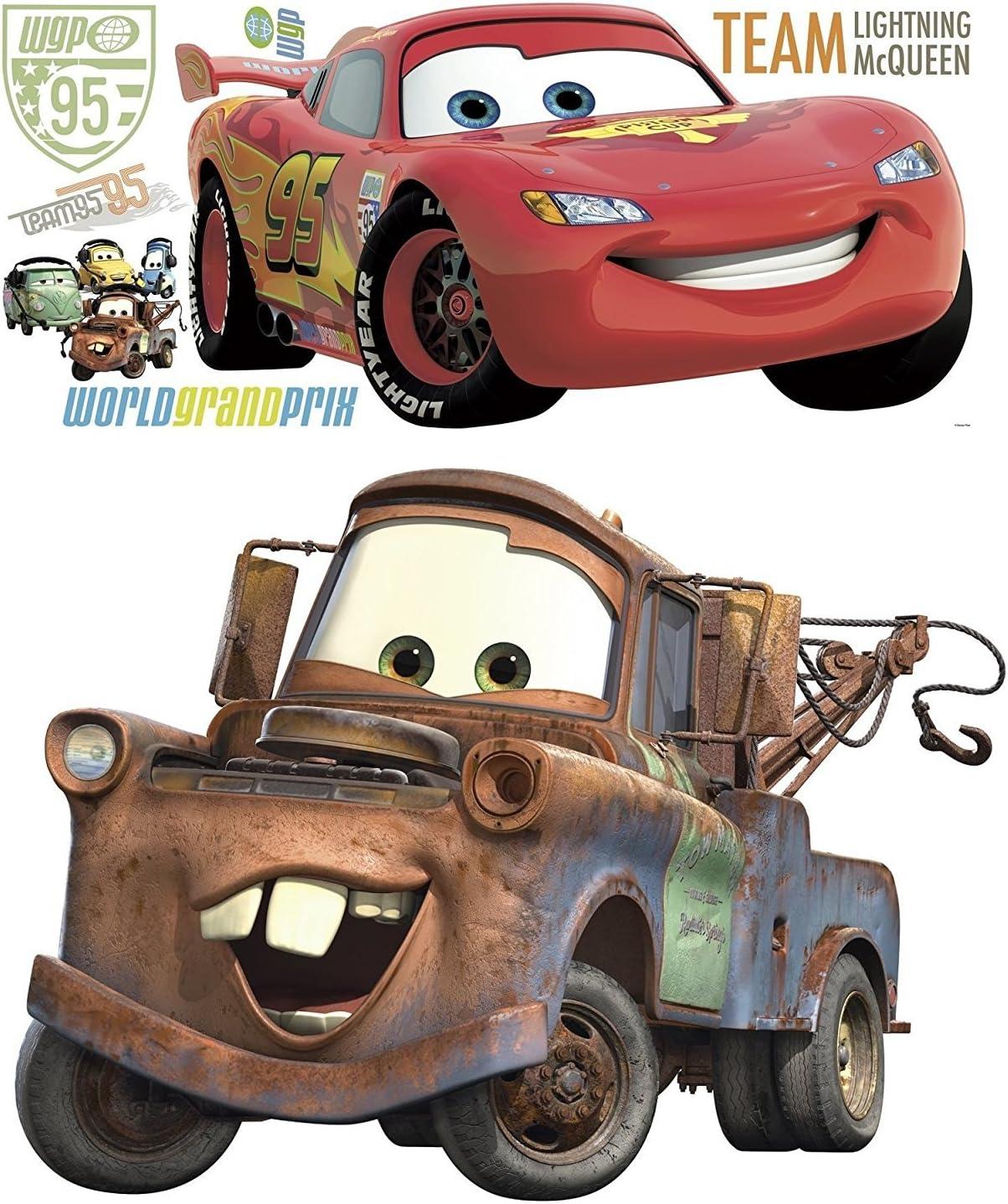Amazon Com Disney Pixar Cars 2 Lightning Mcqueen Mater Peel And Stick Giant Wall Decal Bundle Toys Games