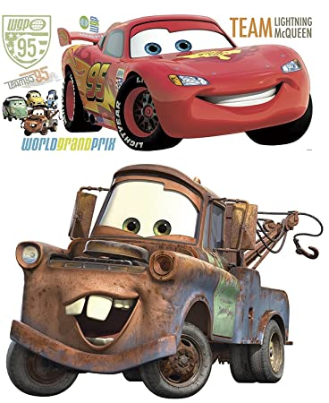 Amazoncom Disney Pixar Cars Lightning McQueen Mater Peel And - Lightning mcqueen custom vinyl decals for cardisney cars wall decals roselawnlutheran