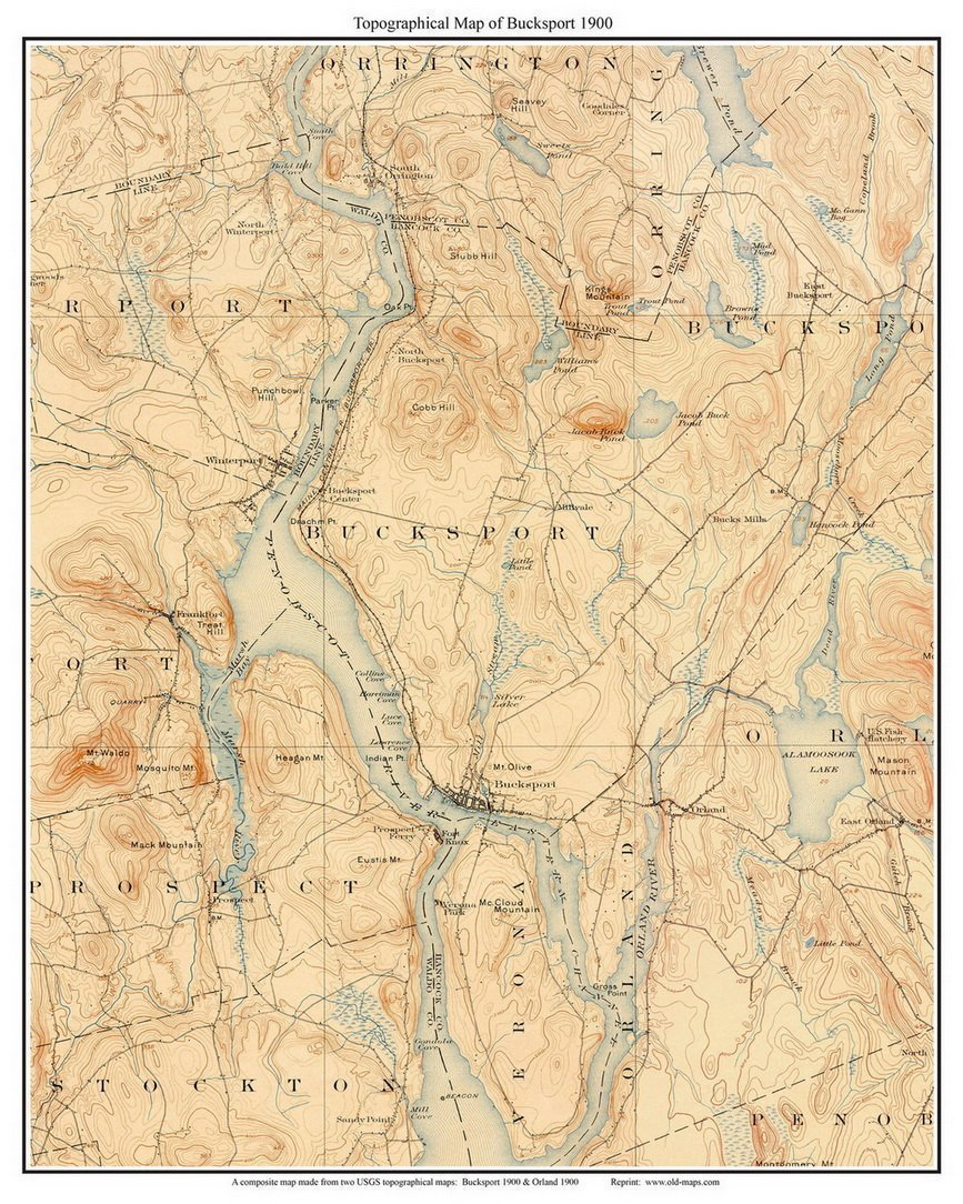 Orland Maine Map.Amazon Com Bucksport 1900 Old Topographic Map Usgs Custom
