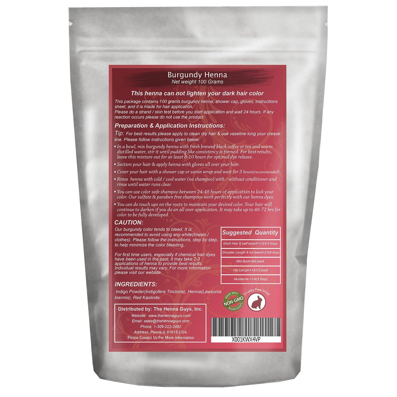 Amazon Com 1 Pack Burgundy Red Henna Hair Beard Color Dye 100