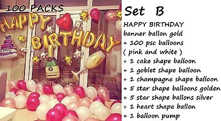 HorBous Paquete de 100 globos de decoración para fiestas de cumpleaños y globos de letras «Happy Birthday»: Amazon.es: Hogar