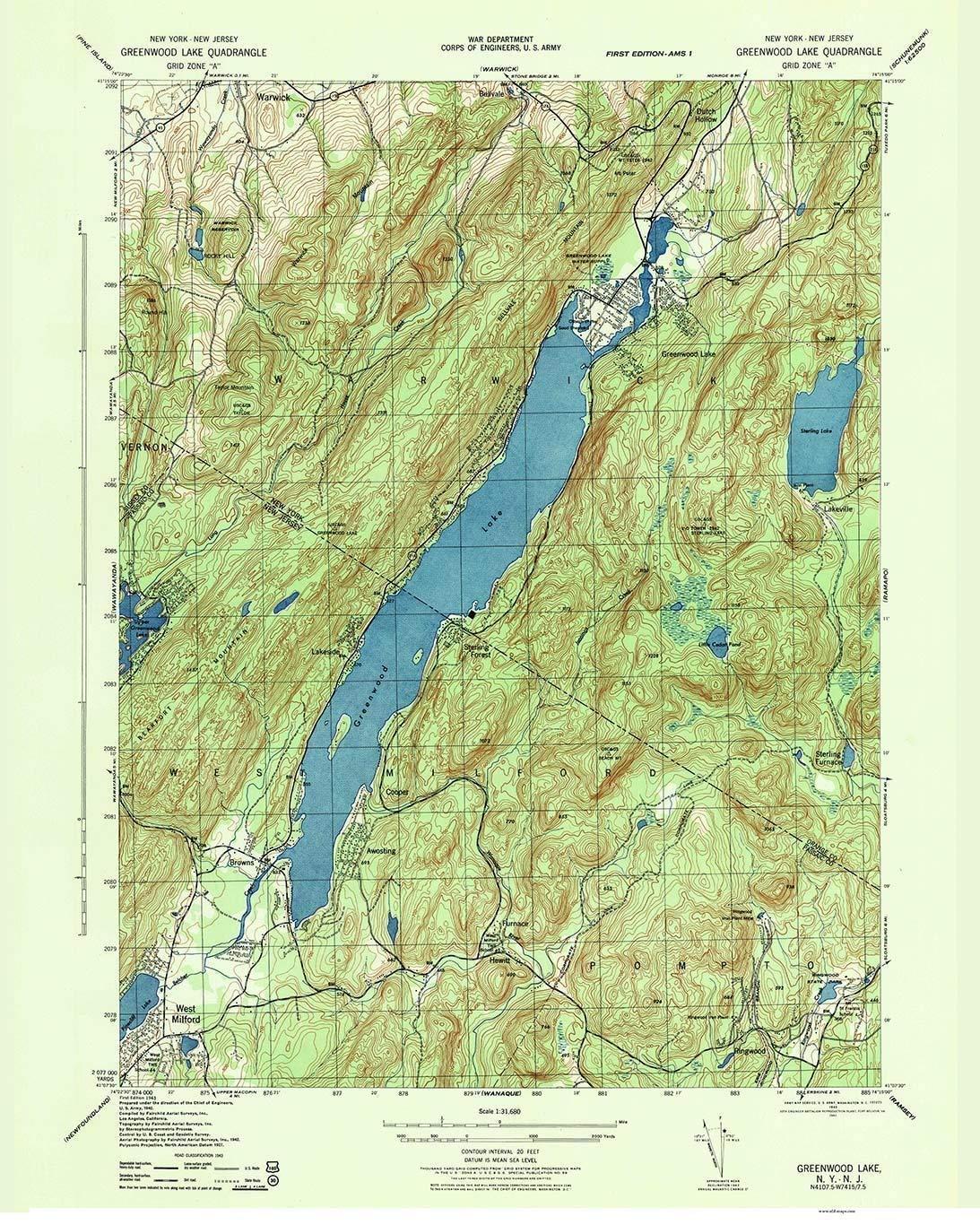 Amazon Com Greenwood Lake 1943 Old Topo Map New York New Jersey