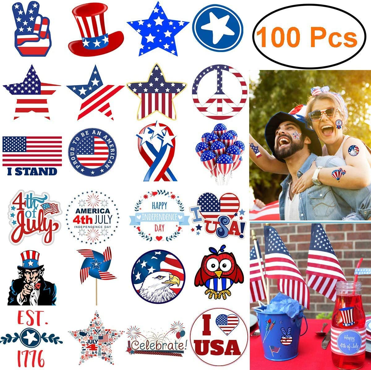 Decorations Sticker 100pcs Waterproof Vinyl Stickers for Door,Window,Car,Laptop, Motorcycle,Bicycle,Luggage, Skateboard Vinyl Graffiti Stickers Decal Patches (July 4th Stickers)