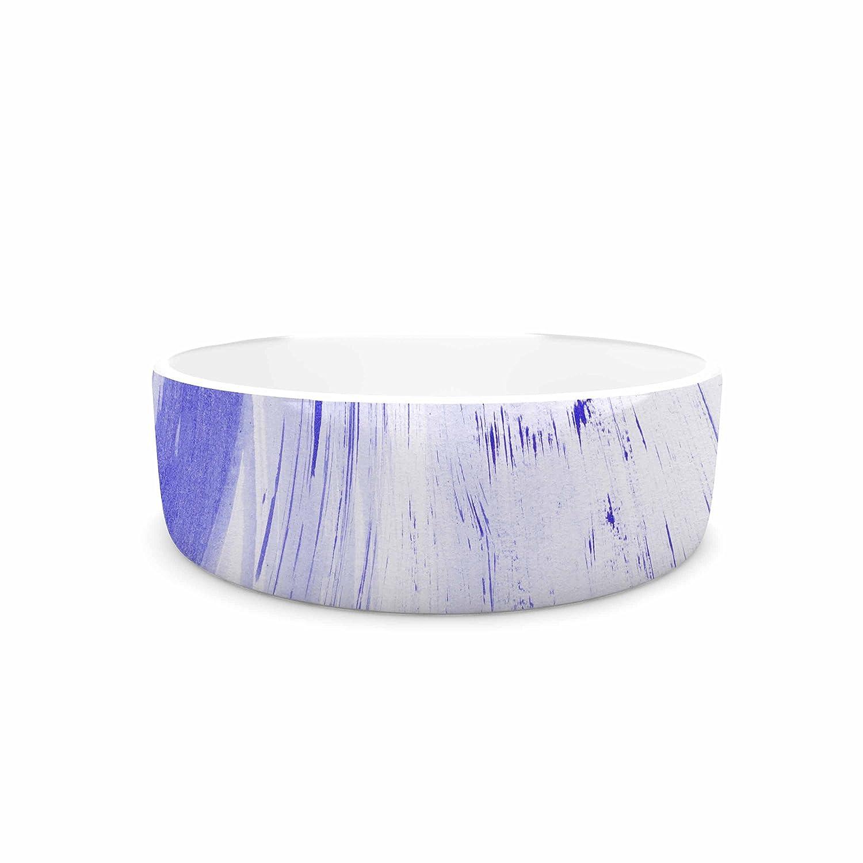 KESS InHouse Danii Pollehn Indigo Stripes bluee White Watercolor Pet Bowl, 7  Diameter