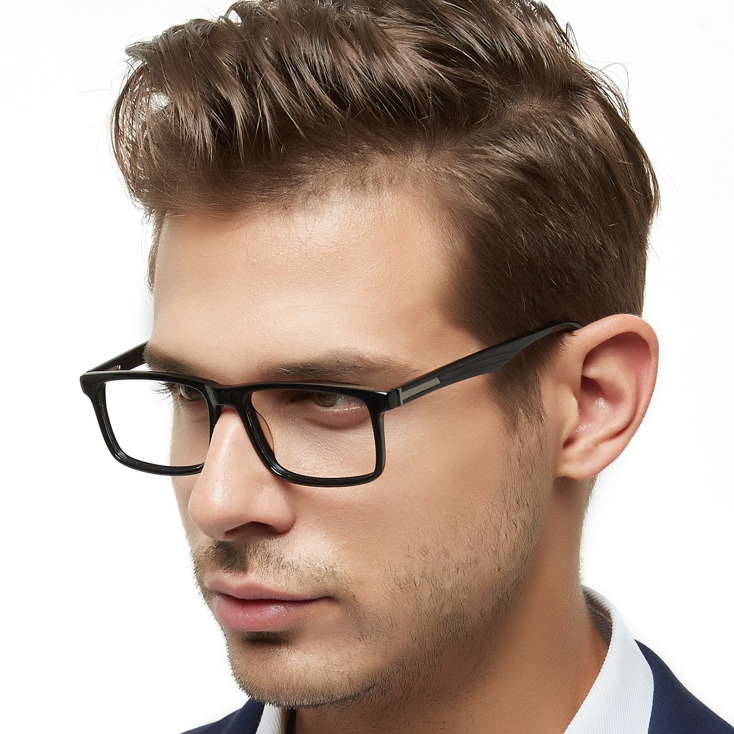 OCCI CHIARI Mens Rectangle Fashion Stylish Acetate Eyewear Frame With Clear Lens 51mm (Black)