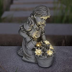 """Exhart Solar Girl Watering Flowers Statue for Home Décor- Natural Finish Girl Statuary w/Solar LED Light Flowers Statue for Patio Décor- Durable Resin Art Indoor/Outdoor Decor, (7"""" x 10.5"""" x 12.5"""")"""