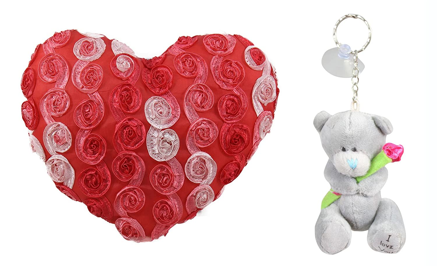 3521525d Buy Tickles Heart Shaped Cushion And Love Teddy Bear Key Rings (Red ...