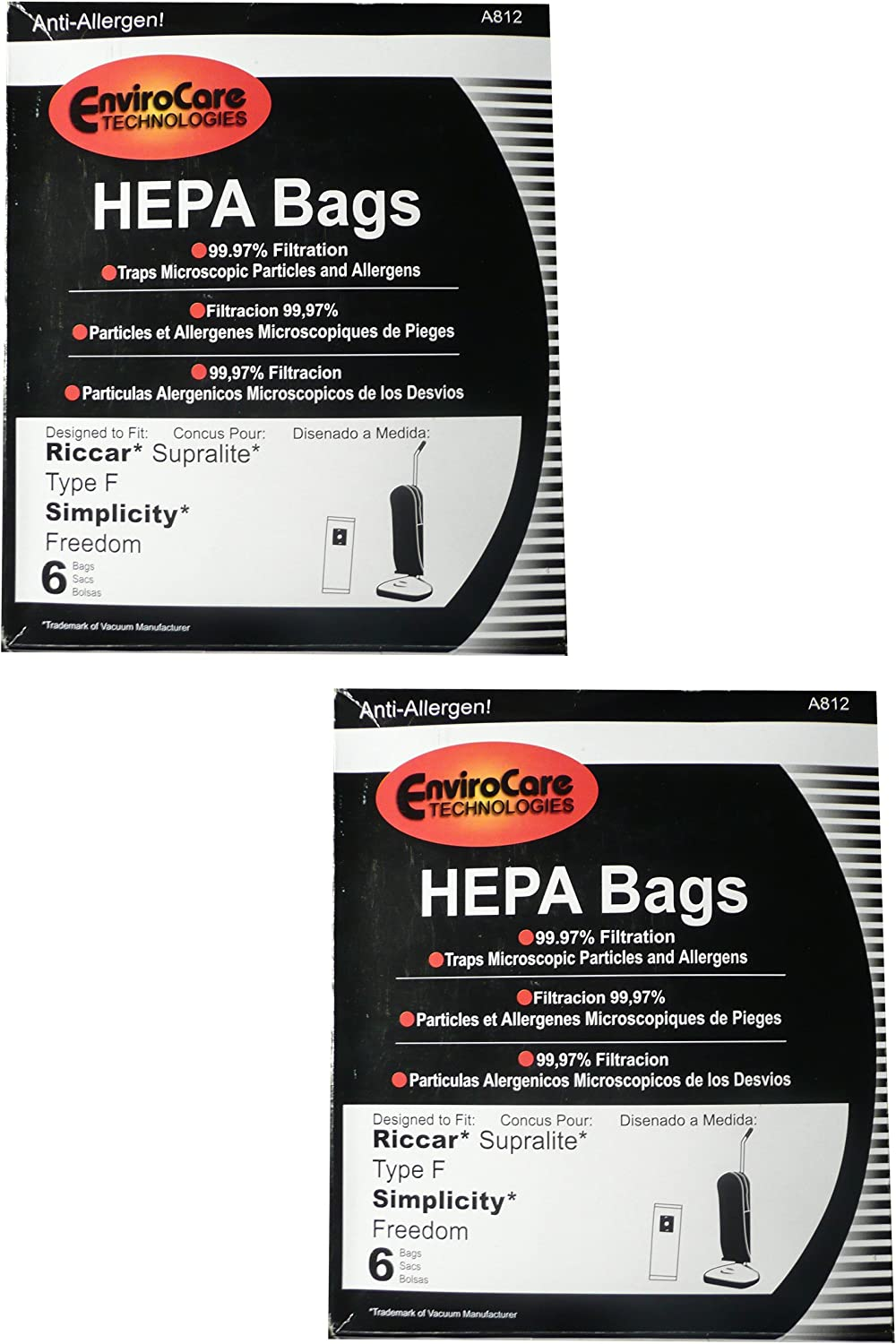 12 Riccar HEPA Type F Vacuum Bags, Simplicity, Freedom, Supralite, Canister Vacuum Cleaners, RSLH-6, SF-6, RSL1, RSL1A, RSL1AC, RSL3C, RSL2, RSL3, RSL4, RSL5, RSL5C, SLPLUS, RFH-6, F3500