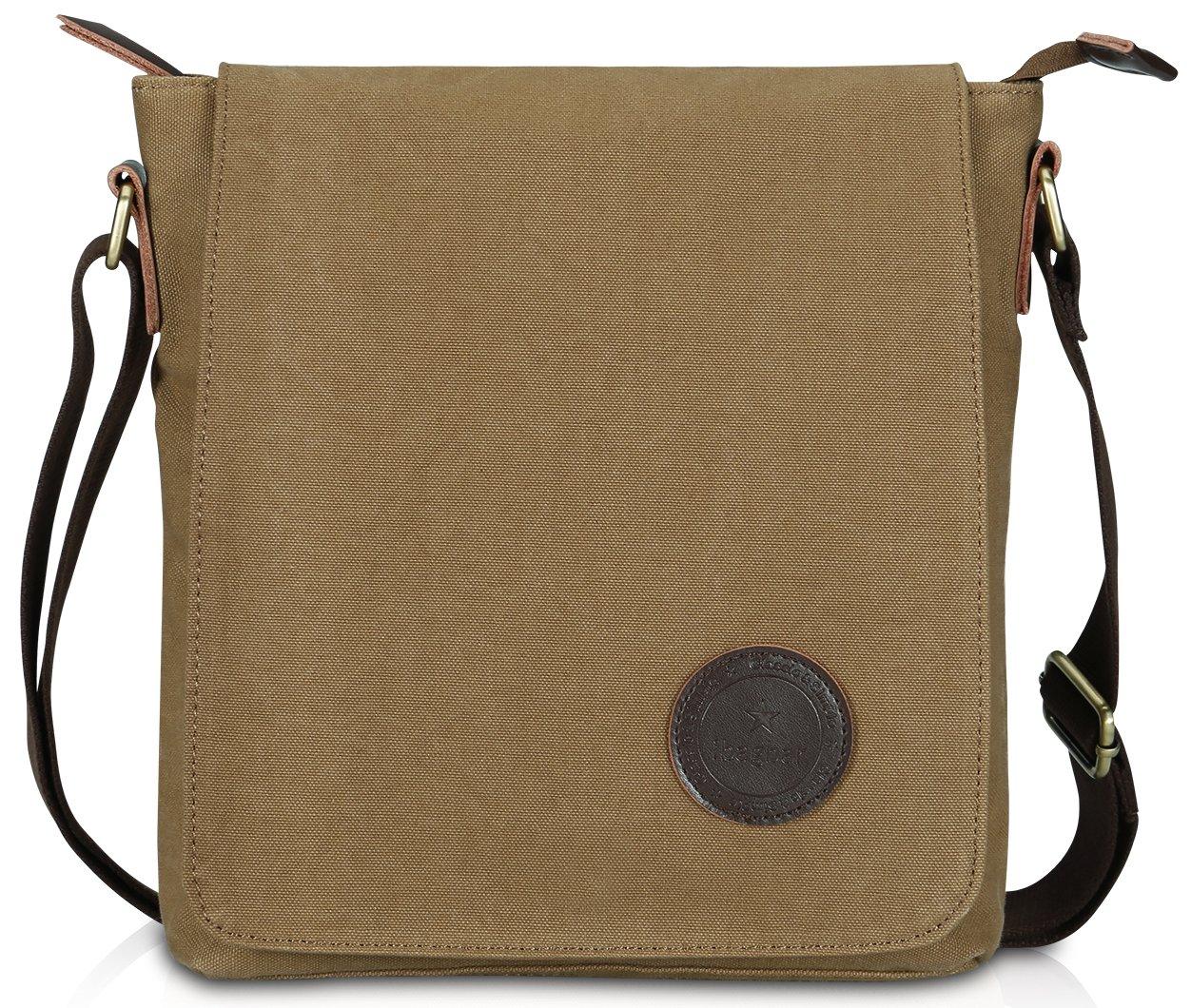 Ibagbar Small Vintage Cotton Canvas Messenger Bag Ipad Bag Shoulder Satchel Crossbody Bag Hiking Traveling Bag for Men and Women