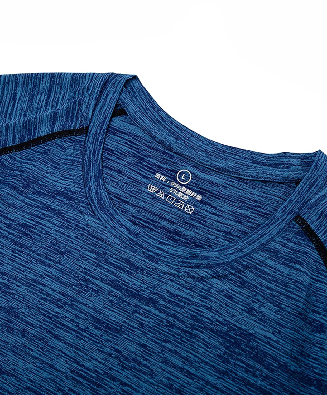 Xintianji Men Basic Shirts Workout Gym Fitness Quick Dry Short Sleeve T-Shirt