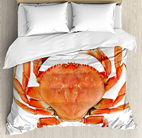 Amazon Com Ambesonne Crabs Duvet Cover Set Sea Animals Theme A Cooked Dungeness Crab With National Marks Digital Image Print Decorative 3 Piece Bedding Set With 2 Pillow Shams King Size Orange White