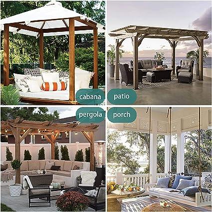 132x215cm Cortinas para Exteriores con Ojales, Color Blanco, Resistentes al Viento, Resistentes al Agua, Resistentes a la harina, para jardín, balcón, ...