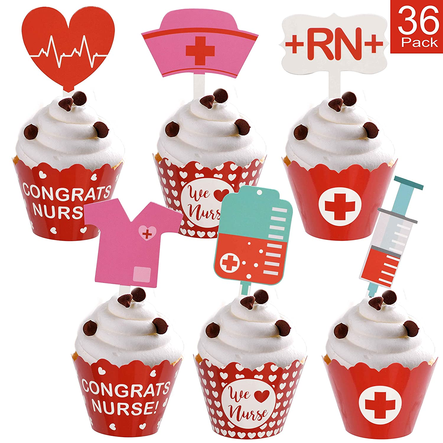 Nurse Graduation Cupcake Wrappers And Toppers Adorable Cupcake Decorations For Nurse Graduation