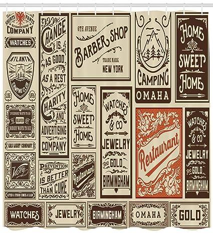 ABAKUHAUS Antigüedad Cortina de Baño, Diseños de Viejas Publicidades Etiquetas Colección Periódicos Nostalgia, Tela
