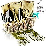 Scuddles - Garden Tools Set - 8 Piece Gardening tools With Storage Organizer, Ergonomic Hand Digging Weeder, Rake, Shovel, Trowel, Sprayer, Gloves Gift for Man & Women SC-GB-01