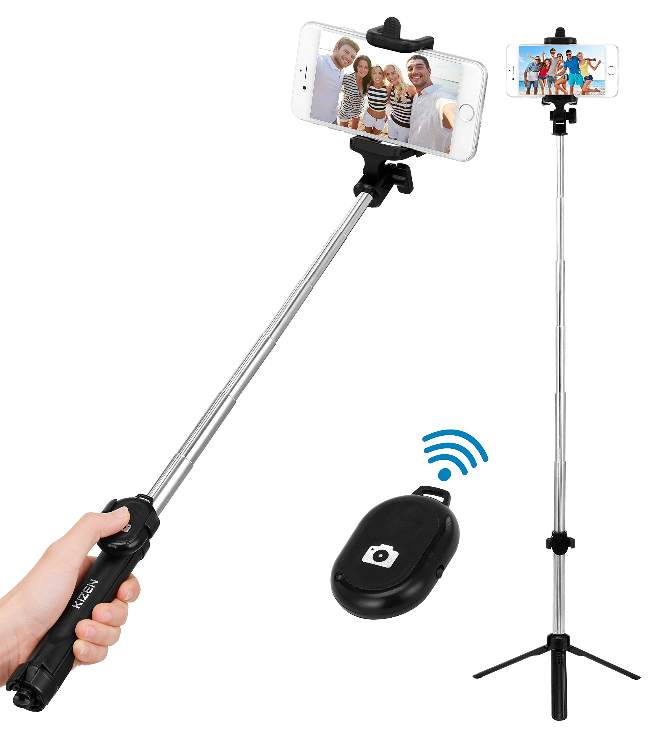 Kizen Selfie Stick Monopod with Built-In Tripod and Wireless Remote Shutter. Dual Side Head, Wireless, 270 Degree Adjustable. For Apple iPhone 5,6,7,8,X & Plus, Samsung Galaxy S5,S6,S7,S8 Android