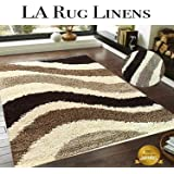LA Rug Linens Simple Wave Design Shaggy Shag 5x7' Chocolate Brown/Ivory/Tan Color Medium Pile Soft Iridescent Sheen Ultra smooth Bedroom livingroom Diningroom