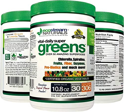 Green Veggie Superfood Powder by Ecostream Naturals – 50 Whole Super Foods with Spirulina, Chlorella, Flax Seed, Fiber and Enzymes with Organic Vegetables – 30 Servings