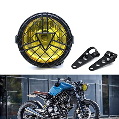 Universal Motorcycle Headlight, 6'' Halogen Head Lamp with Lampshade Cover Retro for Harley Cafe Racer Bobber Chopper Kawasaki Suzuki CG125 GN125 (yellow): Automotive