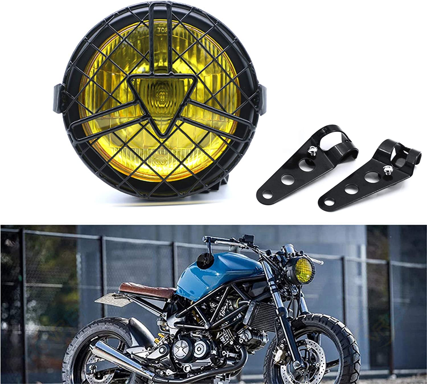 yellow 6  Halogen Headlight with Lampshade Cover Retro for Cafe Racer Bobber Chopper CG125 GN125 evomosa Universal Motorcycle Headlight