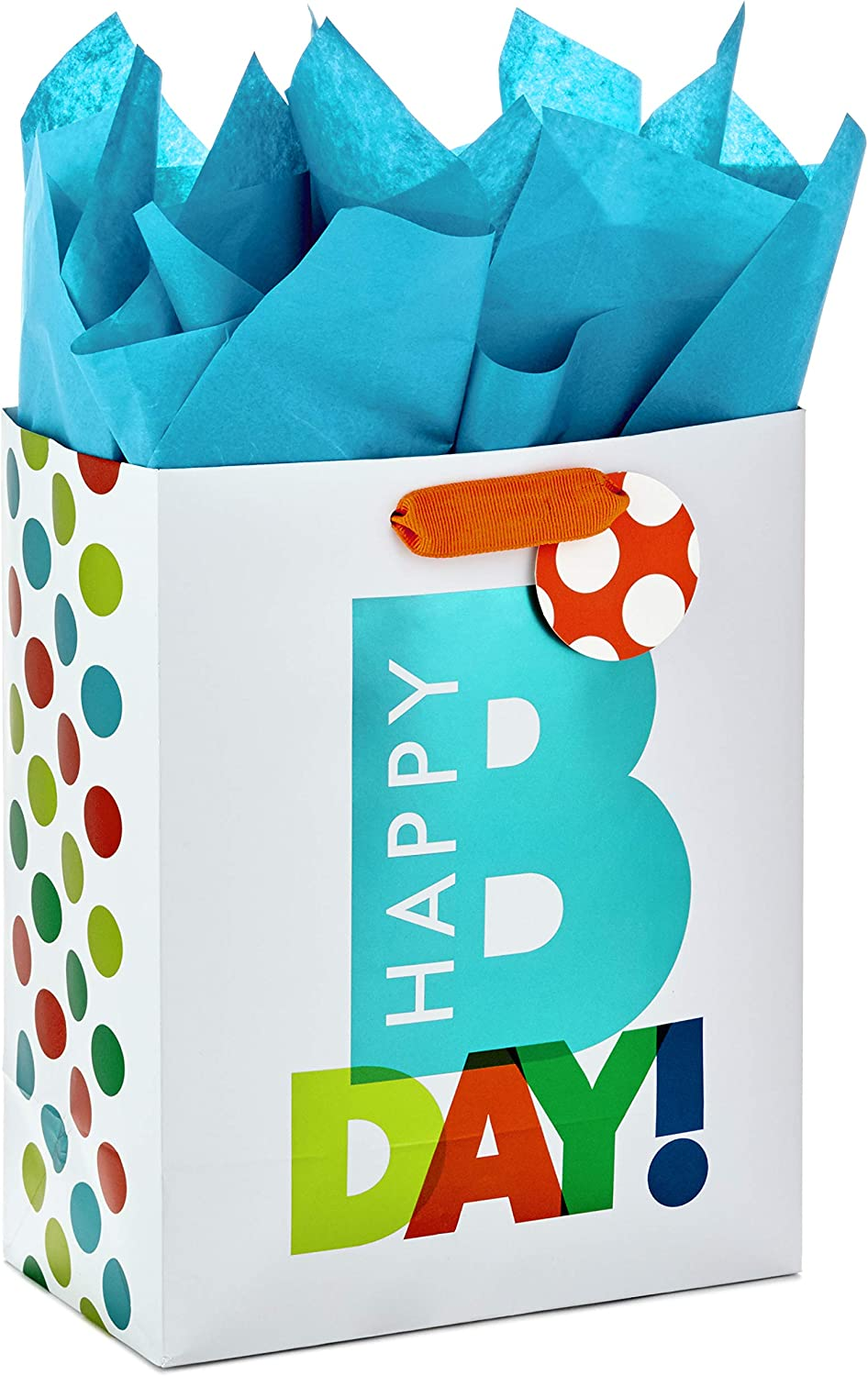 "Hallmark 9"" Medium Gift Bag with Tissue Paper for Birthdays (Happy Bday)"