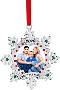 Klikel Christmas Tree Ornament - Christmas Photo Ornament - Family Ornament - Christmas Picture Ornament for Christmas Tree - 2020 Ornament - Silver Snowflake Christmas Ornament