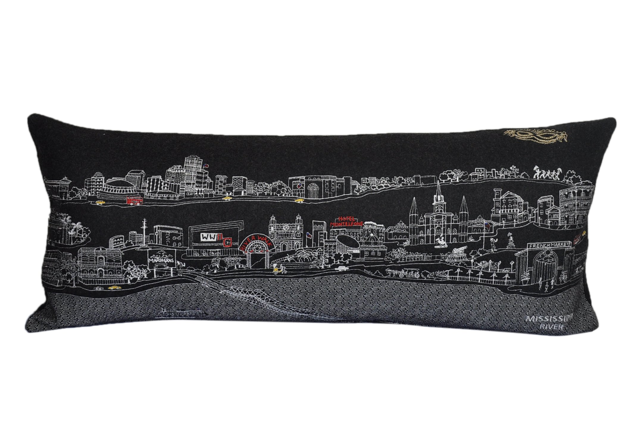 Beyond Cushions Polyester Throw Pillows Beyond Cushions New Orleans Night Skyline Queen Size Embroidered Accent Pillow 35 X 14 X 5 Inches Black Model # NOL-NGT-QUN