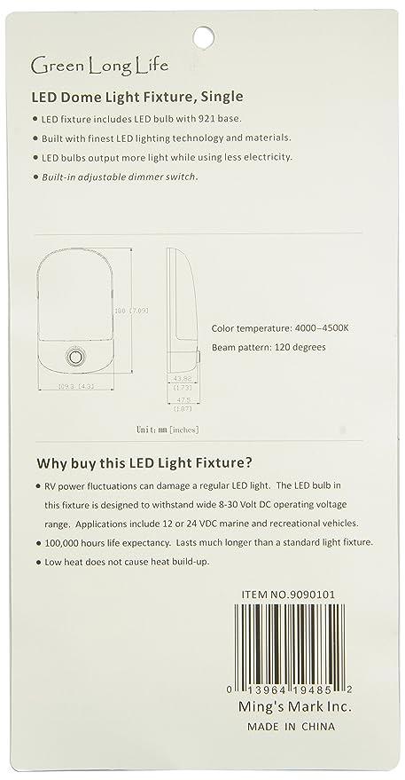 amazon com green longlife 9090101 led dome light fixture single 921