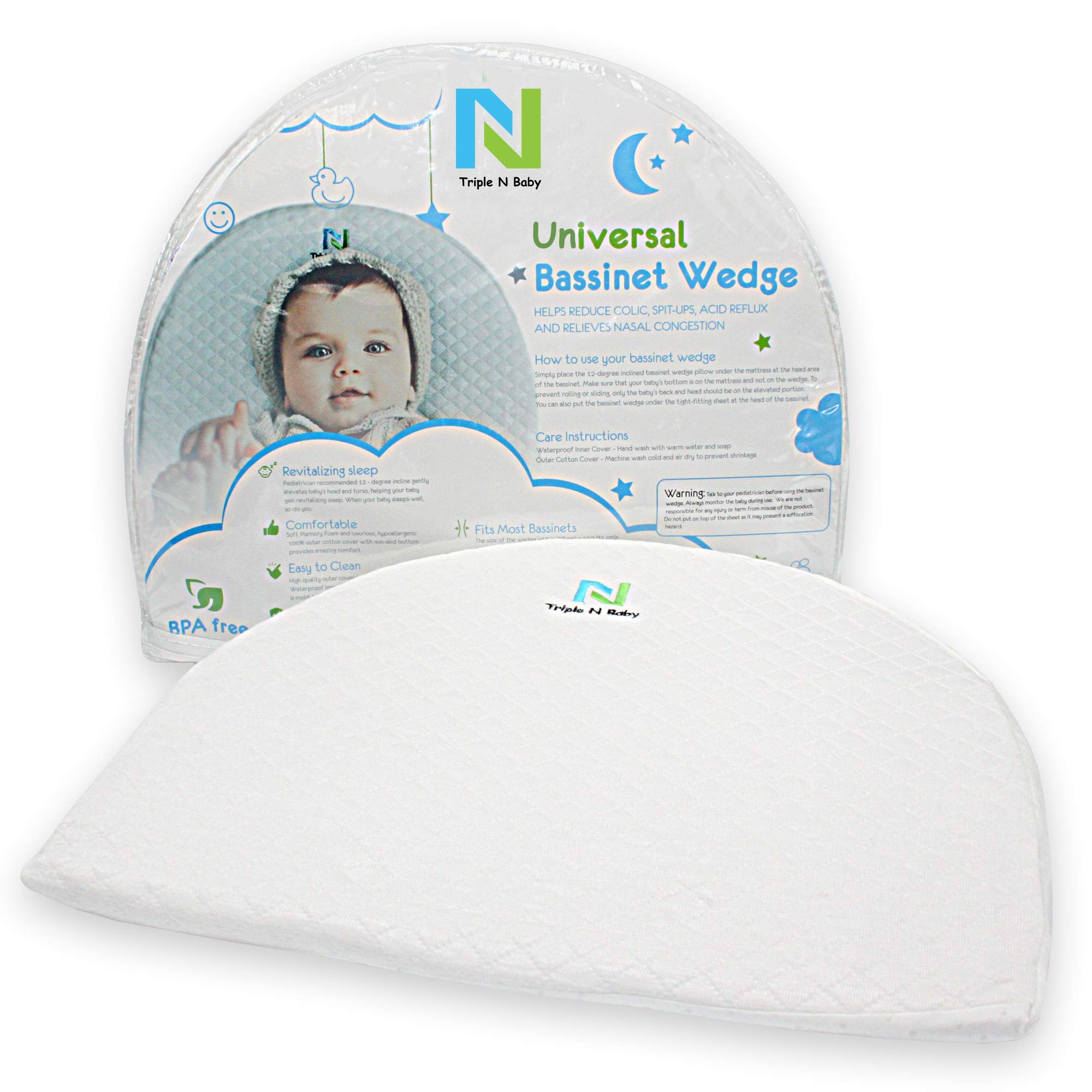 Baby Bassinet Wedge for Reflux Relief 12-Degree Incline Sleep Positioner Elevated Pillow for Newborn Infant with Dual Cover Ideal Baby Shower Gift Anti Colic & Congestion Sleeper Mattress Insert Wedge by Triple N Baby